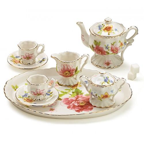 Beautiful Garden Miniature Tea Set