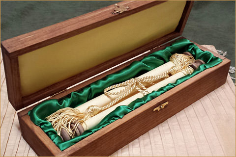 Green and Gold Graduation Box